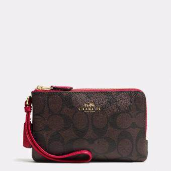 Harga Coach Double Corner Zip Wristlet In Signature