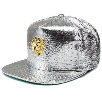 Harga Hats Lion decoration cap type hip-hop baseball cap men and women fashion leather cap(Silver)