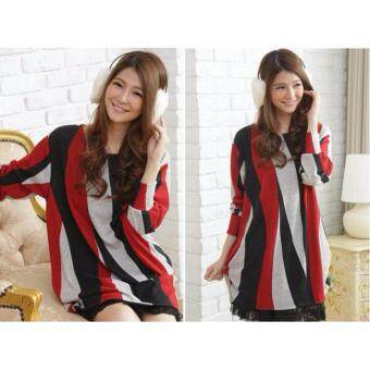 Harga LuvClo (Fit M~3XL) Colorful Ripple Printed Long Sleeves Premium Loose Top (Red)