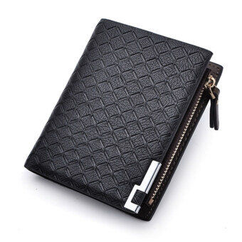 Harga PU Leather Zipper Wallet Money Clip Card Holder Pocket Money Purse Strips Black