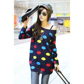 Harga LuvClo (Fit M~3XL) Retro Large Dots Long Sleeves Loose Top (Dark Blue)
