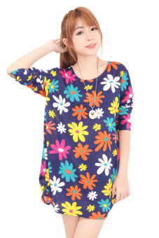 Harga LuvClo (Fit M~3XL) Colorful Flower Printed Long Sleeves Loose Top (Dark Blue)