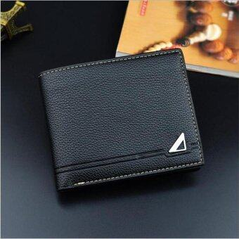 Harga Hot Sales Portable Litchi Pattern S-wallet for Man Concise FashionFolded Leisure Money Clips(Black�x89