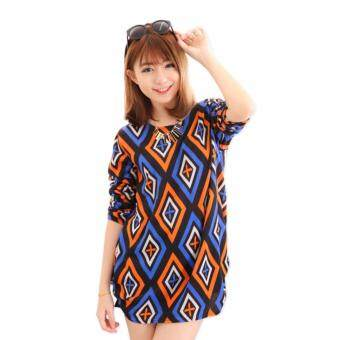 Harga LuvClo (Fit M~3XL) Fashion Style Stunning Design Printed Long Sleeves Top (Orange)