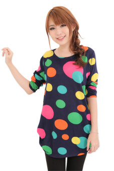 Harga LuvClo (Fit M~3XL) Trendy Polka Dots Printed Long Sleeves Loose Top (Dark Blue)