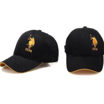 Harga City outdoor leisure drive essential sun hat Paul POLO hat male baseball cap golf hat(Black gold)