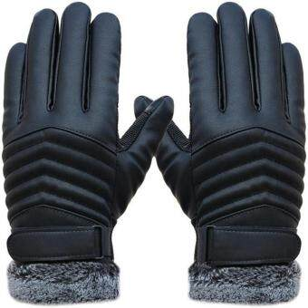 Harga Mens New Screentouch PU Leather Thick Cold Weather Gloves Outdoor Driving Gloves - Black
