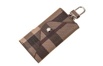 Harga PU Leather Car Key Holder Bag Plaid Key Car Wallets Key Purse Pouch (Intl)