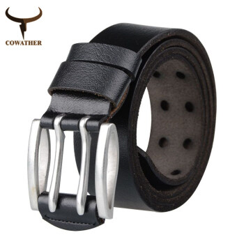 Harga COWATHER New 2016 Fashionable double pin buckle mens belt for men genuine leather belts for men and women free shipping