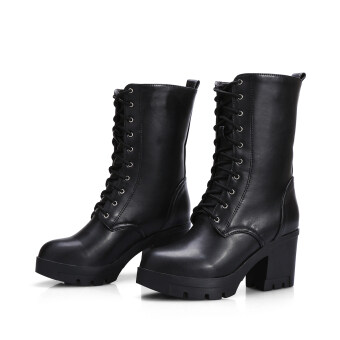 Harga Women chunky heel round toe platform lace up punk goth creeper ankle boots shoes(black)