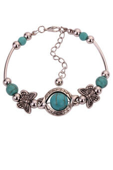 Harga Yazilind Hot Jewel Tibetan Silver Bangle Butterfly Round Turquoise Beads Chain Bracelets