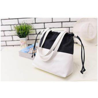 Harga NiCol Korean Drama - Doctors Park Shin-hye Same Canvas Tote Single Shoulder Bag (Black/White)