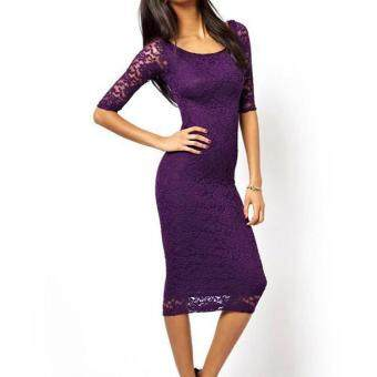 Harga Hotyv Elegant 3/4 Sleeve O-Neck Pencil Dresses Women Slim Midi Lace Dress HDS119 Purple
