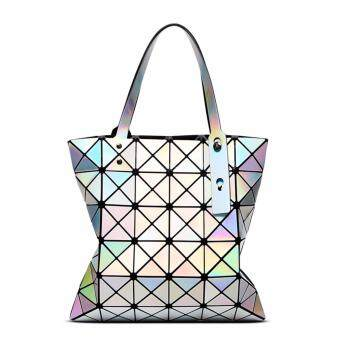 Harga Happy Buy Bag Female Folded Geometric Plaid Bag Fashion Casual Tote Women Handbag Mochila Shoulder Bag Japan Quality Miyake