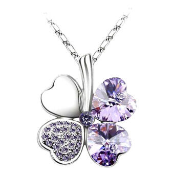 Harga MuWo Trendz White Gold Plated Swarovski Element Crystal Timeless Necklace - Clover - Light Purple Silver