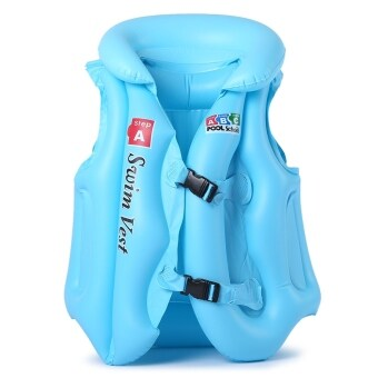 Harga MiniCar Durable Thickening Inflatable Baby Swimsuit Swim Vest Child Swimming Equipment Blue size:L(Color:Blue)