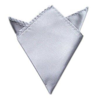 Harga New 1PC Men Satin Square Soild Blazer Pocket Handkerchief Wedding Party Favor(Silver)