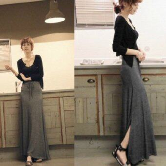 Harga Spring Autumn Women's Bodycon Slim Fit Side-Slit Drawstring Long Maxi Skirt - Free Size Dark Grey