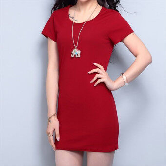 Harga Korean Fashion Summer Solid Color Short Sleeve Mini Dress HDS056 Wine Red - Intl