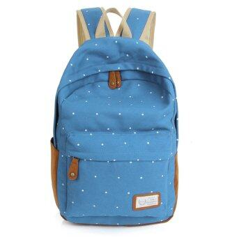 Harga Dot Printing Students School Bags Women Canvas Backpack +Azure