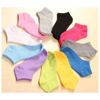 Harga 10 pairs women socks, thin boat socks shallow mouth solid color socks cute candy colored socks
