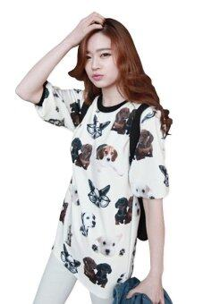 Harga LuvClo (S~L) Korean Adorable Dogs Printed Round Neck Puff Sleeves Loose (White)