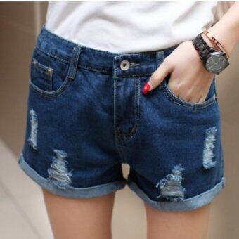 Harga JYS Fashion Denim Short Pants (Dark Blue)