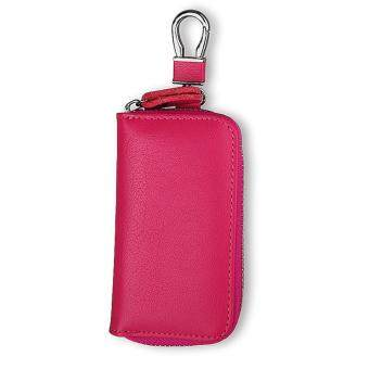 Harga Fashion Genuine Leather Key Case Car Key Holder Wallet Keychain Key Ring Rose