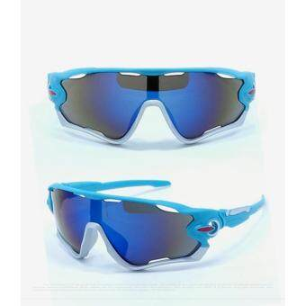 Harga UV400 Cycling Eyewear Bicycle Sports Glasses Protection Men Motorcycle Outdoor Sport Sunglasses Reflective Explosion-proof Goggles(Blue)