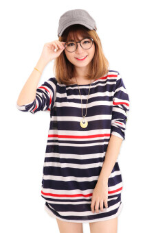 Harga LuvClo (Fit M~3XL) Fashion Casual Stripe Long Sleeves Top (Dark Blue)
