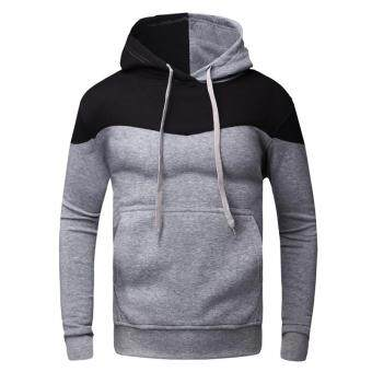 Harga Brand Fashion Mens Hoodies Long Sleeve Pullover Hoodies Mens Clothes Hip Hop Men Hooded Sweatshirt Sudaderas Plus Size (Light Grey)