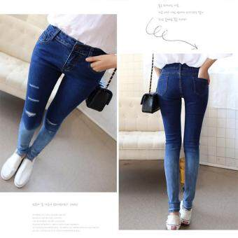 Harga Women Jeans Pants Hot Sale Pencil Full Length Denim Ripped Punk Cut-out Plus Size Sexy Skinny Jean gradient color