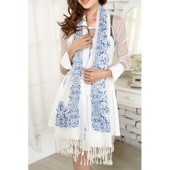 Harga SH Gorgeous Blue and White Porcelain Pattern Tassels Cotton Scarf For Women Color assorted