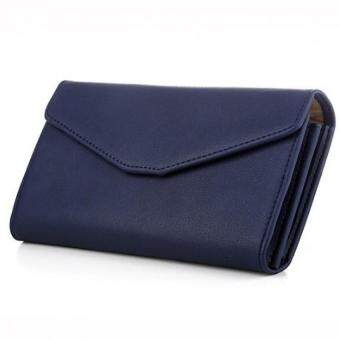 Harga Women Wallet Clutch Wallet Female Case Phone Carteiras Femininas Money Bag Purse Card Holder Vintage (Blue)