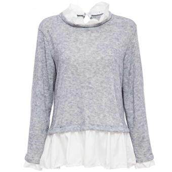 Harga [AS THE PICTURE] Simple Jewel Collar Long Sleeve Spliced Kintted Sweater for Ladies(Int:S)