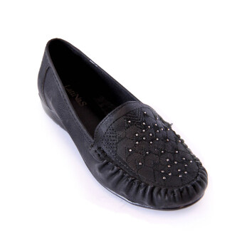 Harga Latinas Moccasin With Geometry Embroidery And Diamonds (Black)