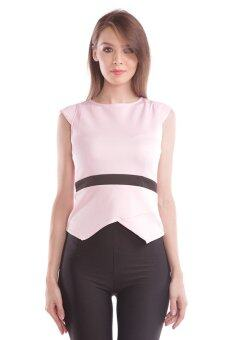 Harga babyKOOLS women's clothing candice peplum cap sleeve top pink