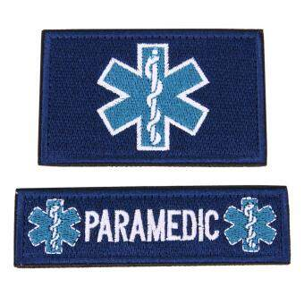 Harga 2pcs/set Medical Technician EMT Embroidered Patches Military(Blue)