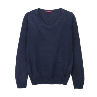 Harga F.O.S NAVY & NAVY WOMEN'S BASIC NAVY V NECK SWEATER