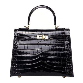 Harga Korralaa Women Handbag 28cm Black Crocodile Leather Tote Bag Crossbody Bag With Gold Hardware