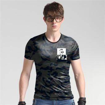 Harga T-Shirts Men Short Sleeve Nice Print T Shirts O Neck Ice Silk D007