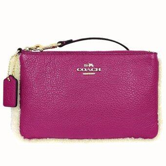 Harga Coach Small Wristlet In Leather And Shearling