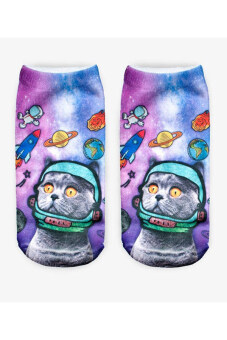 Harga Jetting Buy Unisex Socks 3D Printed Animal Casual Cute Low Cut Outer space Cat