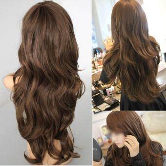 Harga AC Sexy Womens Girls Fashion Style Wavy Curly Long Hair Girl Full Wigs Light Brown