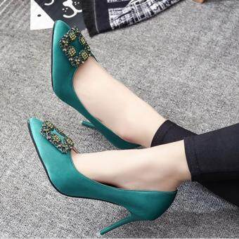 Harga Leyi Ms fine with low for shallow mouth diamond satin heels Deep green