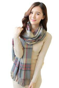 Harga L8902 Tartan Lambswool Scarf - Dual use with Button (Grey)
