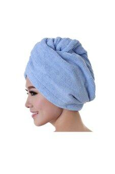 Harga Microfiber Bath Towel Hair Dry Hat (Blue)