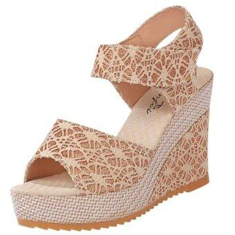 Harga LCFU764 Lace Shoes Wedge Womens Platform High Heel Sandals(apricot)