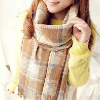 Harga Autumn Winter Spring Fashion Style Cotton Scarf/scarves/cappa/tippet/shawl for women/ladies/girls BeigeGrid 200CM