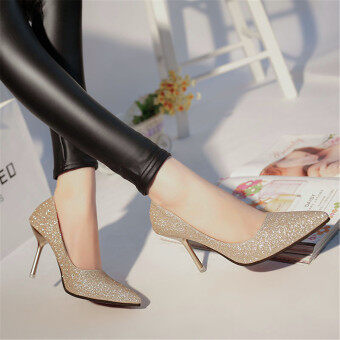 Harga LCFU764 Pointed high heel wedding shoes lighter sexy and nubuck shoes-golden